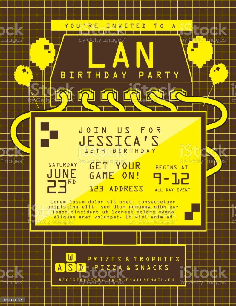 Lan Birthday Party Invitation Design Template Stock Vector Art ...