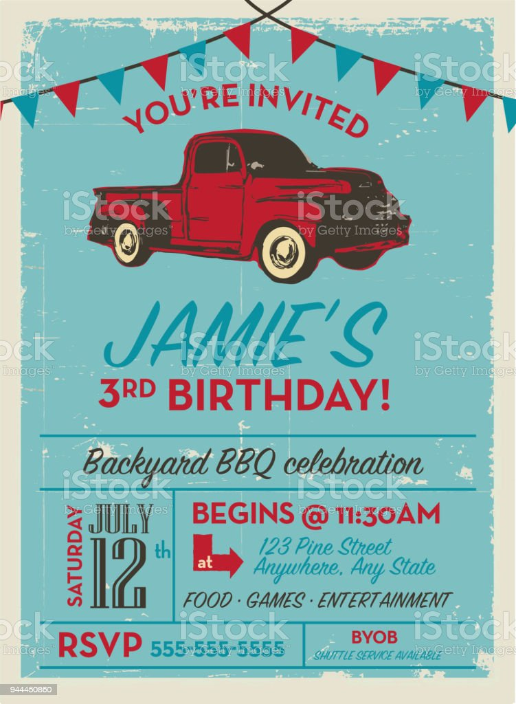 Birthday party invitation design template with vintage truck Invitation design template vector art illustration