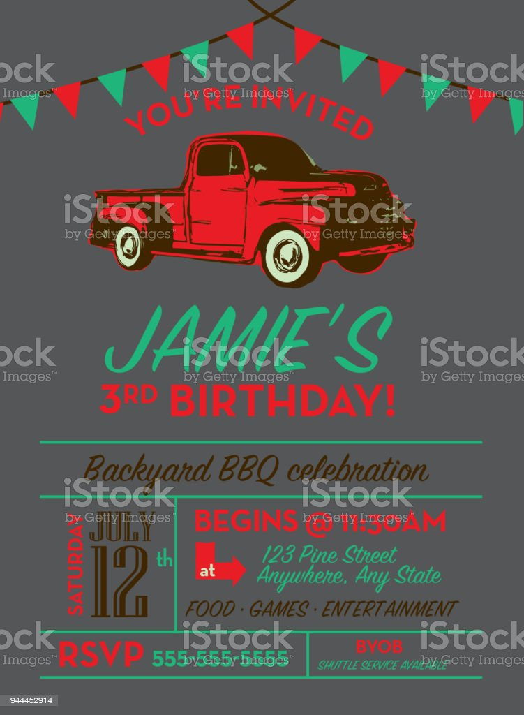 Birthday party invitation design template with vintage truck...