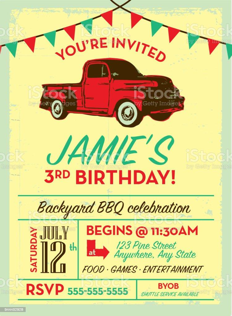 Geburtstag Party Einladung Designvorlage Mit Oldtimer Lkw Einladung