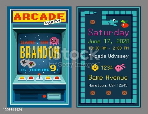 istock Birthday party invitation in retro style pixel art 1226644424