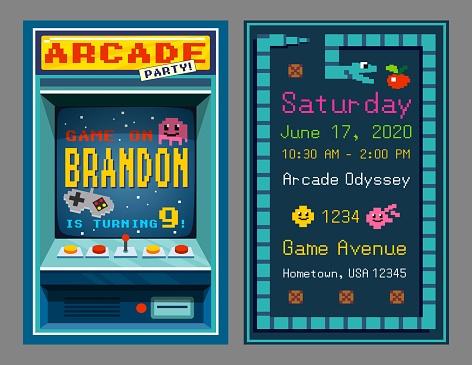Birthday party invitation in retro style pixel art
