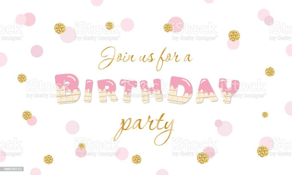 Birthday party invitation on polka dot festive background with glitter. Isolated on white. vector art illustration