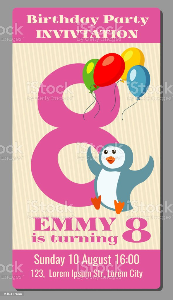 Birthday Party Invitation Pass Vector Ticket With Funny Penguin For Lizenzfreies