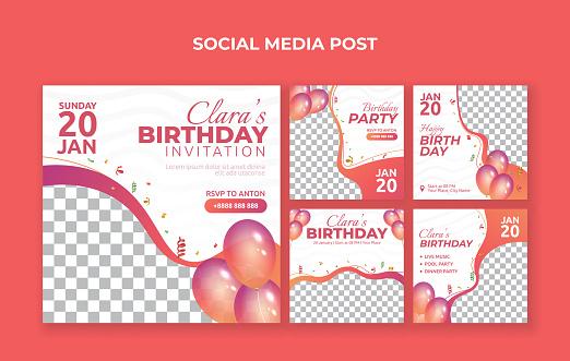 Birthday party invitation social media post template