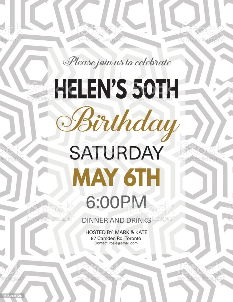 Birthday Party Invitation Template On A Bold Geometric Pattern Stock ...