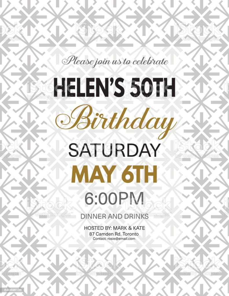 Birthday Party Invitation Template On A Bold Geometric Pattern Stock