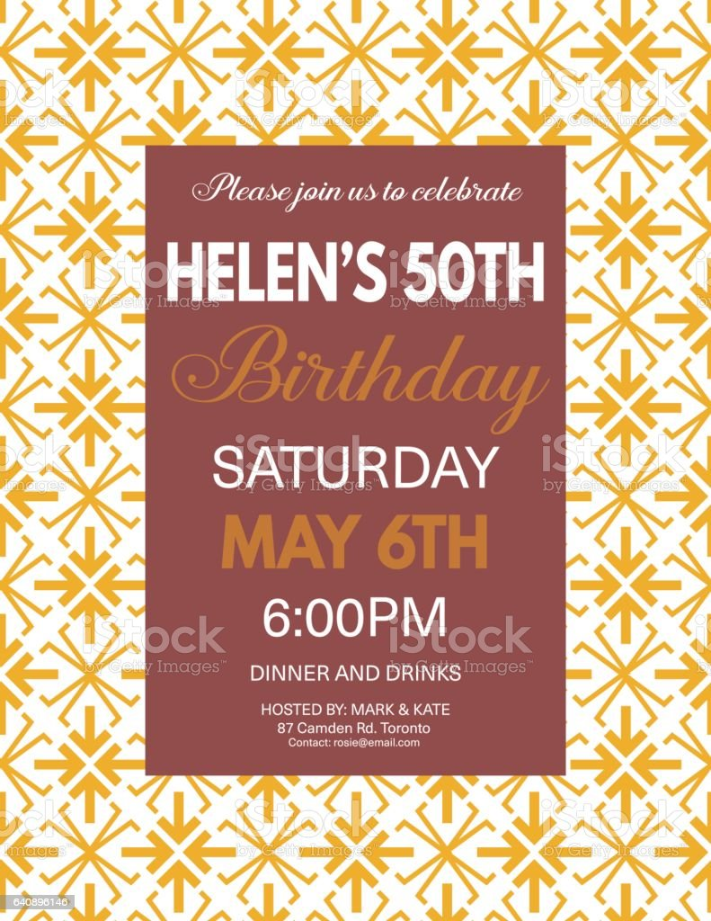 Birthday Party Invitation Template On A Bold Geometric Pattern Lizenzfreies