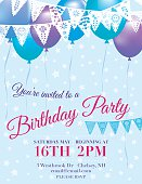 Birthday Party Invitation vertical Template With blue and purple balloons and white pennant Flags hanging horizontally across the top on an blue star scattered background.  The purple and red birthday invitation text is in the middle of the poster under the balloons  and pennant flags.