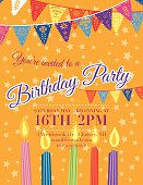Birthday Party Invitation vertical Template With five multicoloured Candles along the bottom And green pennant Flags hanging horizontally across the top on an orange star scattered background.  The multicoloured birthday invitation text is in the middle of the poster between the candles and pennant flags.