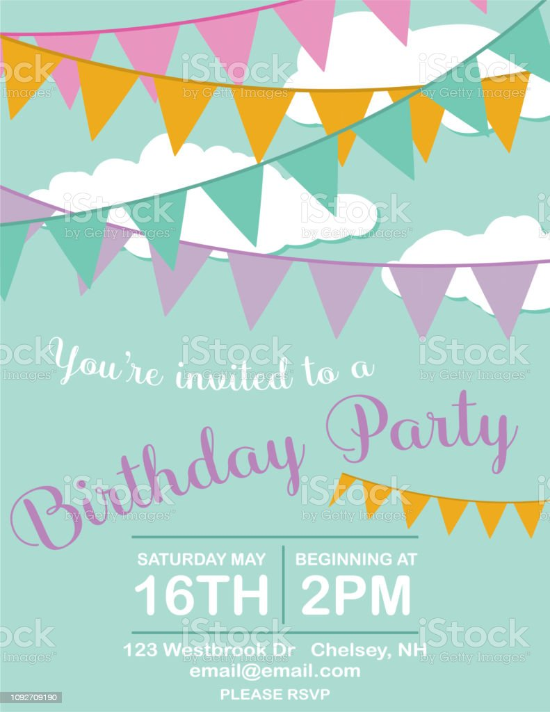 Uitgelezene Verjaardag Uitnodiging Voor Feestje Sjabloon Met Wolken KY-37
