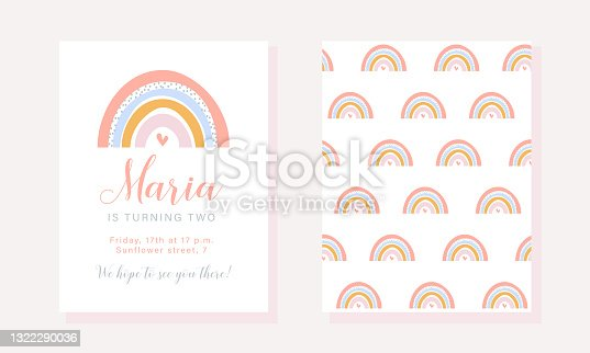 istock Birthday party invitation template with rainbow in pastel colors. 1322290036