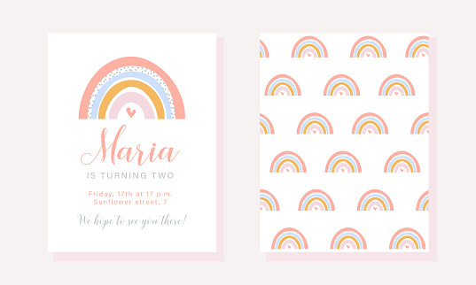 Birthday party invitation template with rainbow in pastel colors.