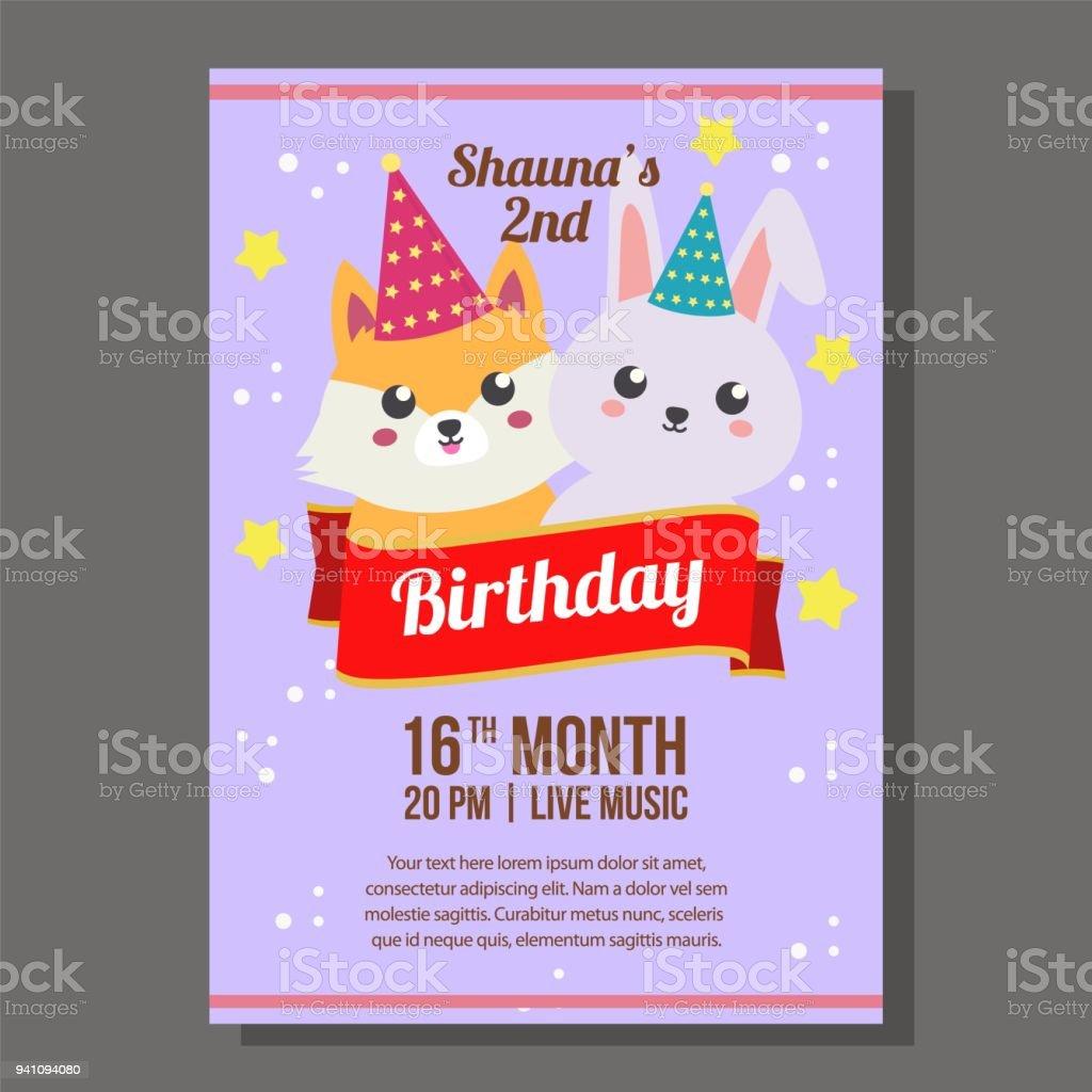 Ilustração De Tema De Convite De Festa De Aniversário Com Kawaii