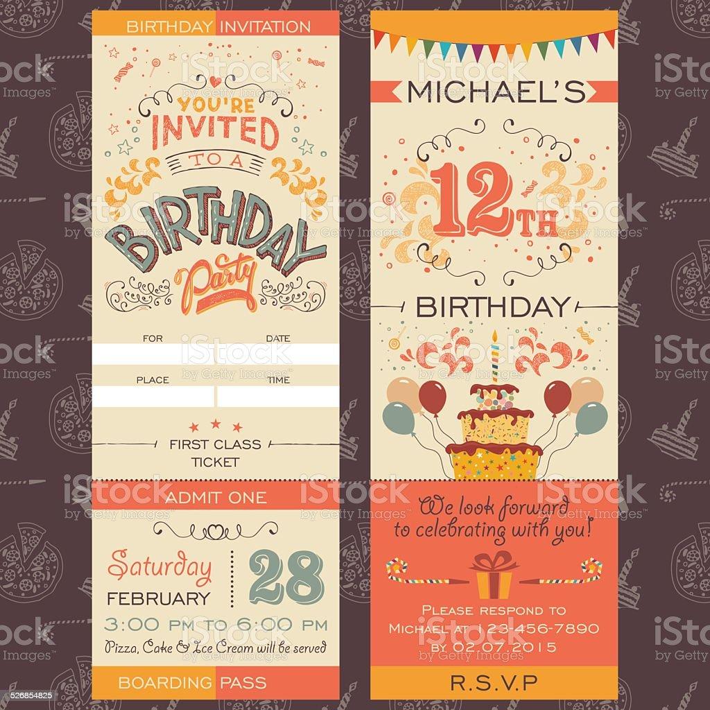 Birthday party invitation ticket