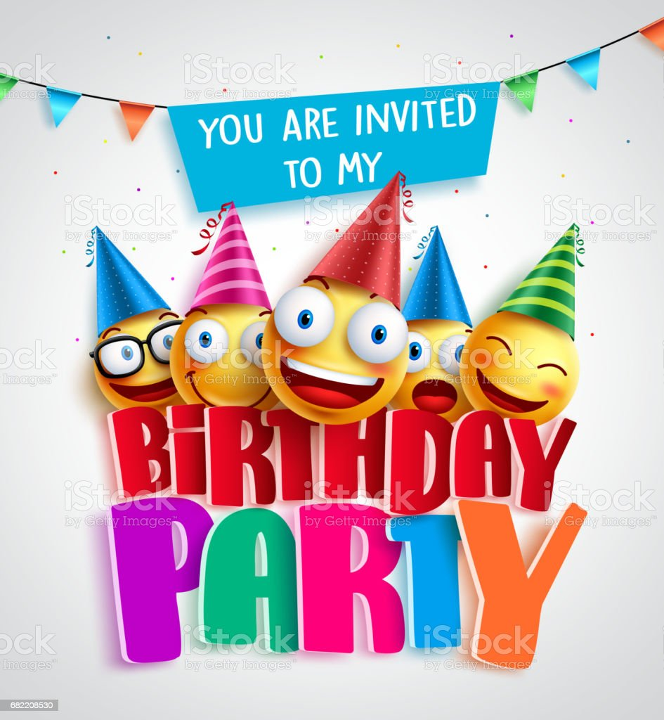 Birthday party invitation vector design with happy smileys wearing birthday party invitation vector design with happy smileys wearing royalty free birthday party invitation vector stopboris Gallery