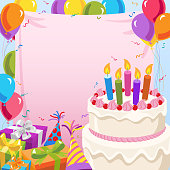Birthday party invitation with birthday cake and copy space.