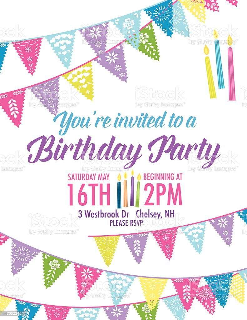 Birthday Party Invitation with Diagonal Blue and Purple Pennant Flags vector art illustration