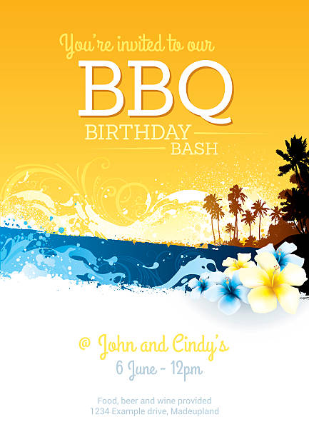BBQ birthday party invite Invitation poster for a summer BBQ birthday celebration big island hawaii islands stock illustrations