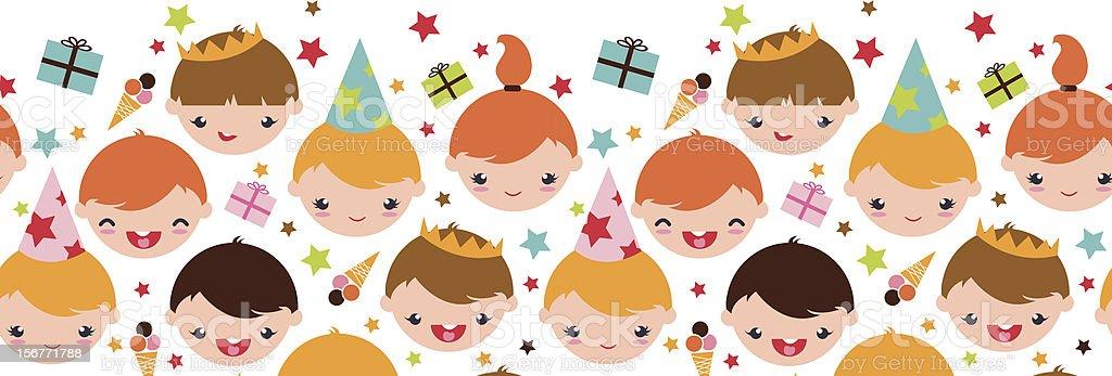 Birthday Party Kids Horizontal Seamless Ornament royalty-free stock vector art
