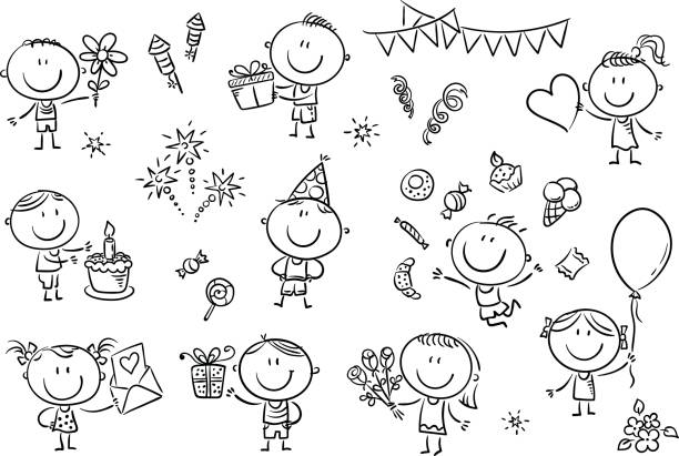 Birthday Party Kids Set A set ot funny sketchy kids celebrating birthday party with sweets, cakes and flowers. cartoon of birthday cake outline stock illustrations
