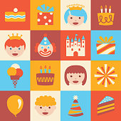 Vector icons for a birthday party for kids on a grid