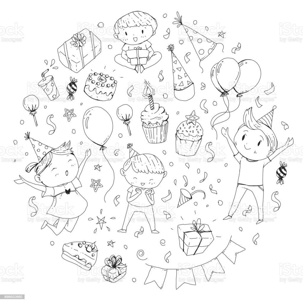 Verjaardag Partij Kindergarten Kinderen Kids Tekening Uitnodiging
