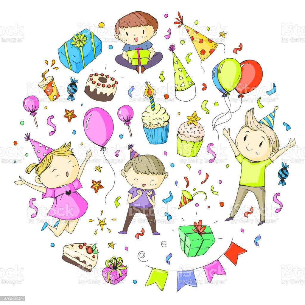 Ilustración De Niños De Jardín De Infantes De Fiesta Cumpleaños
