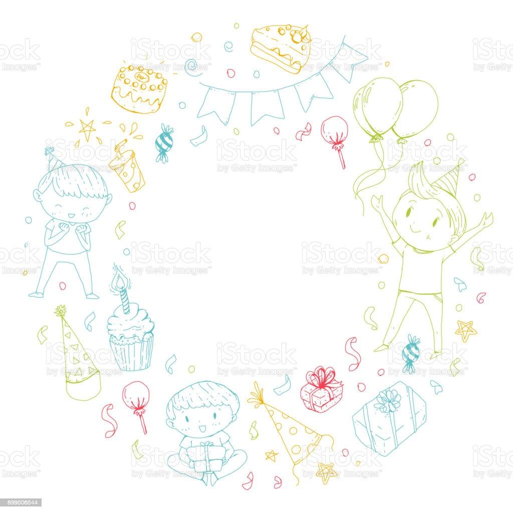 誕生日パーティー幼稚園児子供の男の子と女の子お菓子と風船のギフトと