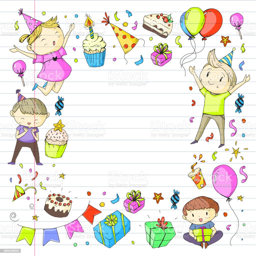 Birthday party kindergarten children kids drawing party invitation birthday party kindergarten children kids drawing party invitation with boys and girls sweets and balloons stopboris Images