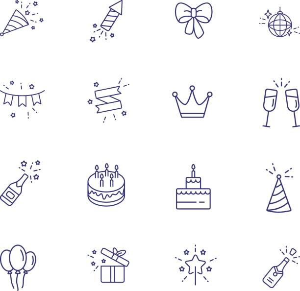 Birthday party line icon set. Decoration, cake with candles Birthday party line icon set. Decoration, cake with candles, champagne. Celebration concept. Can be used for topics like wedding, surprise, holiday, anniversary birthday icons stock illustrations