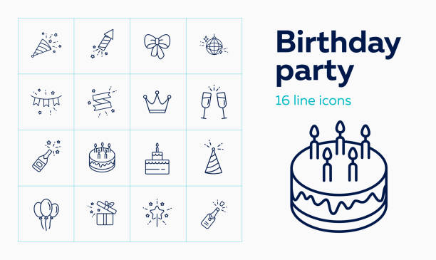 Birthday party line icon set. Decoration, cake with candles Birthday party line icon set. Decoration, cake with candles, champagne. Celebration concept. Can be used for topics like wedding, surprise, holiday, anniversary anniversary symbols stock illustrations