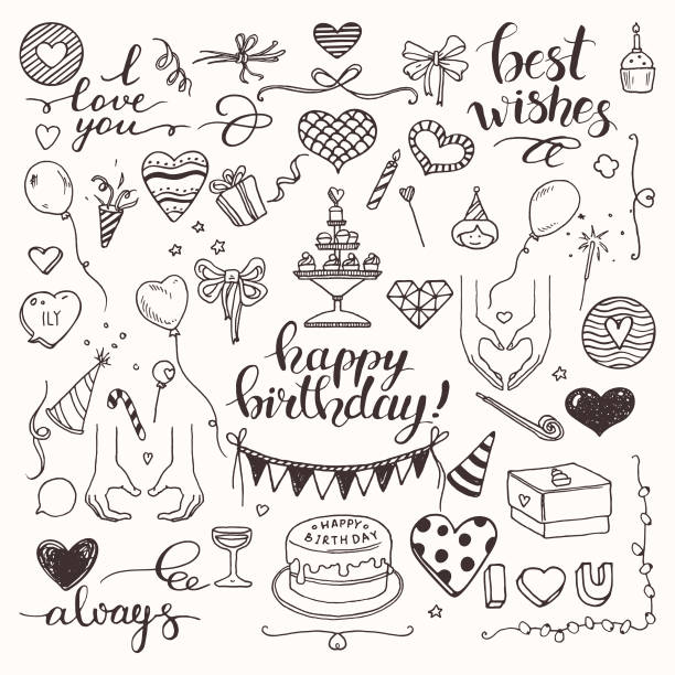 birthday party, love, wedding doodle style vector illustration clipart isolated on white background. hand drawn elements for festive flyer, poster, banner, invitation design templates. - anniversary clipart stock illustrations