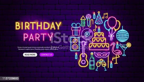 Birthday Party Neon Banner Design. Vector Illustration of Celebration Promotion.