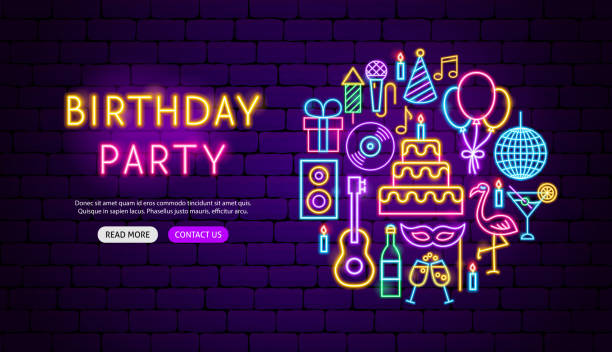 ilustrações de stock, clip art, desenhos animados e ícones de birthday party neon banner design - party