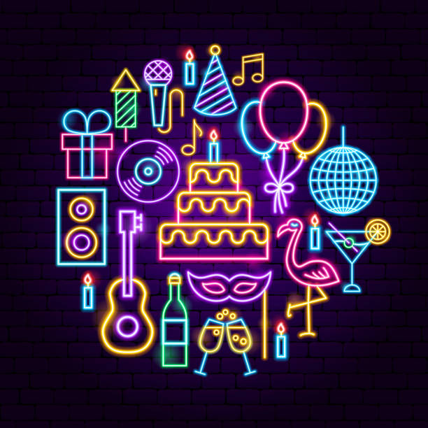 Awe Inspiring Neon Birthday Cakes Illustrations Royalty Free Vector Graphics Funny Birthday Cards Online Necthendildamsfinfo