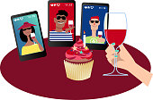 Person having a birthday party with friends via video chat, EPS 8 vector illustration