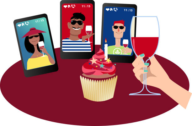 Birthday party online Person having a birthday party with friends via video chat, EPS 8 vector illustration zoom stock illustrations