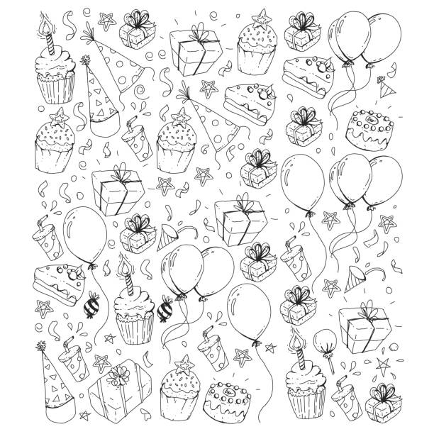 Birthday party. Pattern for invitations, banners, templates. vector art illustration