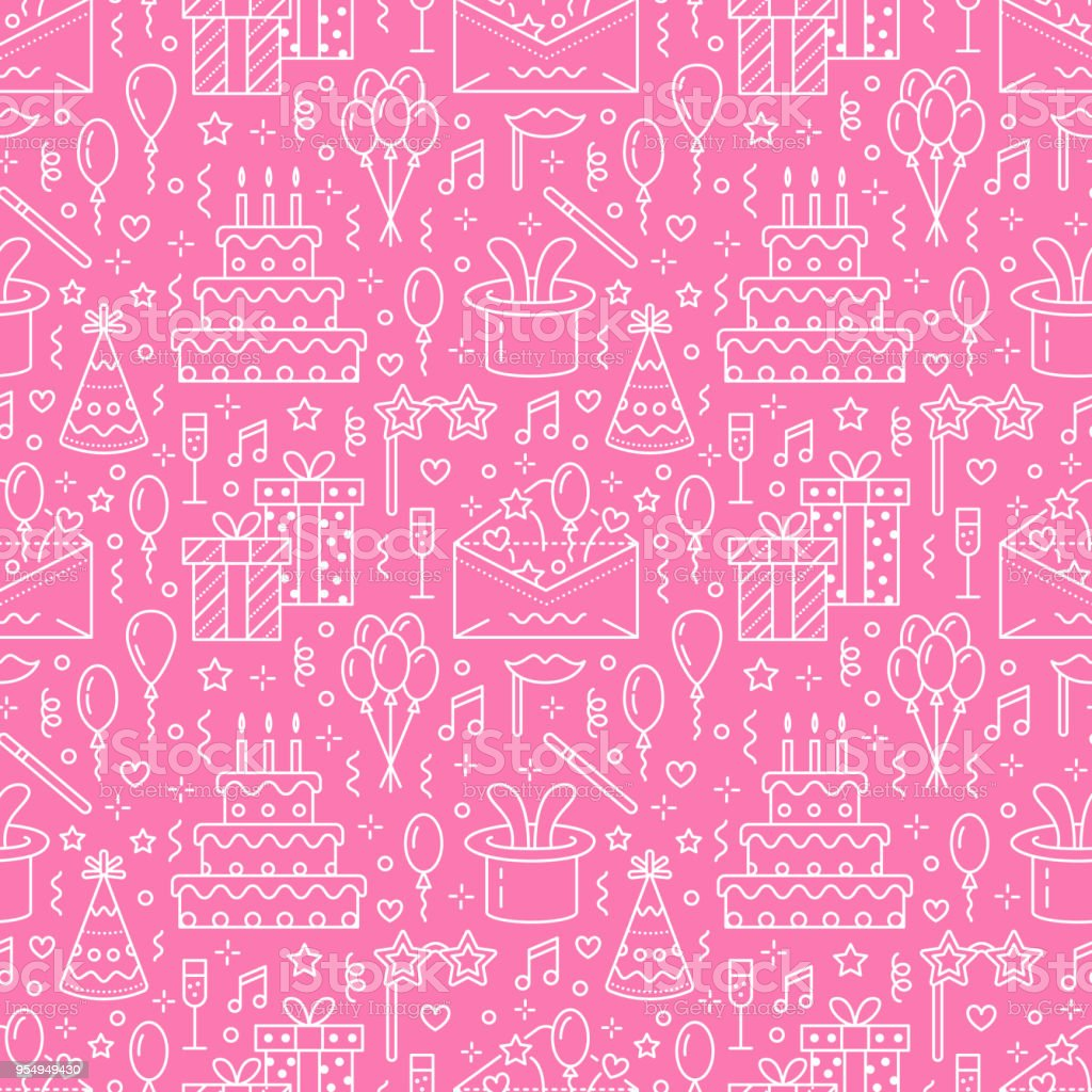 Birthday Party Pink Seamless Pattern Flat Line Illustration Vector ...