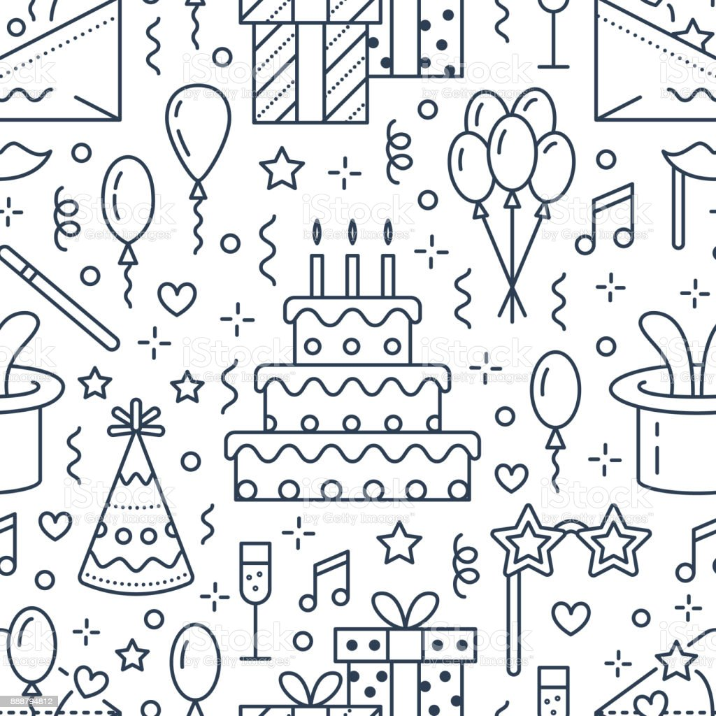 Birthday party seamless pattern, flat line illustration. Vector icons of event agency, wedding organization - cake, balloons, gifts, invitation, kids entertainment. Cute repeated background vector art illustration