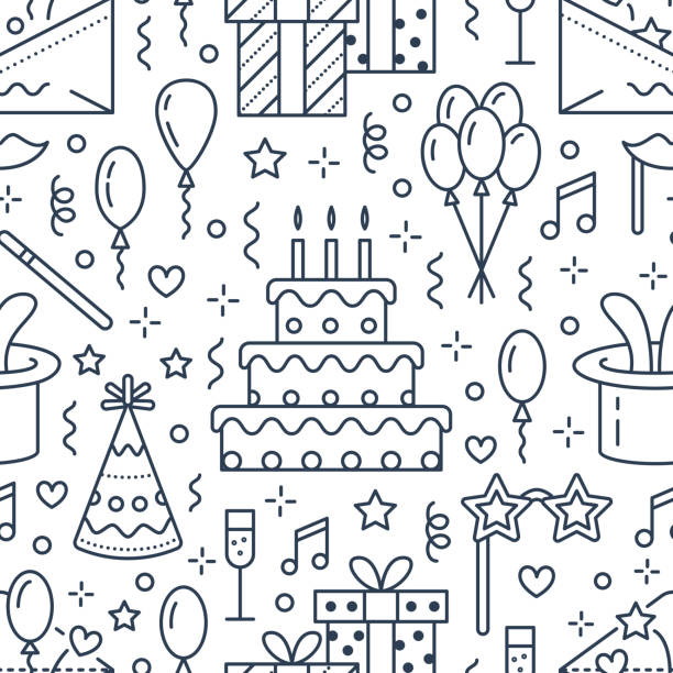 Birthday party seamless pattern, flat line illustration. Vector icons of event agency, wedding organization - cake, balloons, gifts, invitation, kids entertainment. Cute repeated background Birthday party seamless pattern, flat line illustration. Vector icons of event agency, wedding organization - cake, balloons, gifts, invitation, kids entertainment. Cute repeated background. cake patterns stock illustrations