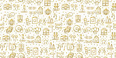 Birthday party seamless pattern in gold. Party decor elements: birthday cake, gift, confetti. Festive, event, entertainment, fun, carnival theme. Golden texture. Vector illustration. Line background