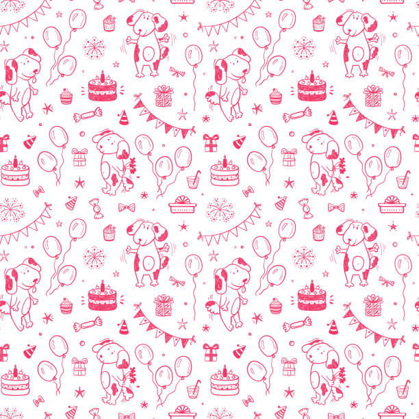 Birthday Party Seamless pattern with Cute Dogs. Happy Birthday Festive Background with Hand Drawn Doodle Funny Puppy, Birthday Cake, Sweets, Bunting Flag, Balloons, Gift Box and other Party Supplies. Birthday Party Seamless pattern with Cute Dogs. Happy Birthday Festive Background with Hand Drawn Doodle Funny Puppy, Birthday Cake, Sweets, Bunting Flag, Balloons, Gift Box and other Party Supplies. cartoon of birthday cake outline stock illustrations