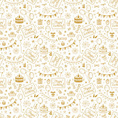 Birthday Party Seamless Pattern with Hand Drawn Doodle Birthday Cake, Sweets, Bunting Flag, Balloons, Gift Box and other Party Supplies. Celebratory background. Golden Holiday Wallpaper.