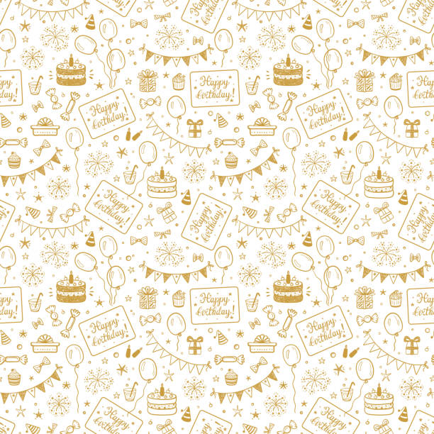 Birthday Party Seamless Pattern with Hand Drawn Doodle Birthday Cake, Sweets, Bunting Flag, Balloons, Gift Box and other Party Supplies. Celebratory background. Golden Holiday Wallpaper. Birthday Party Seamless Pattern with Hand Drawn Doodle Birthday Cake, Sweets, Bunting Flag, Balloons, Gift Box and other Party Supplies. Celebratory background. Golden Holiday Wallpaper. birthday background stock illustrations