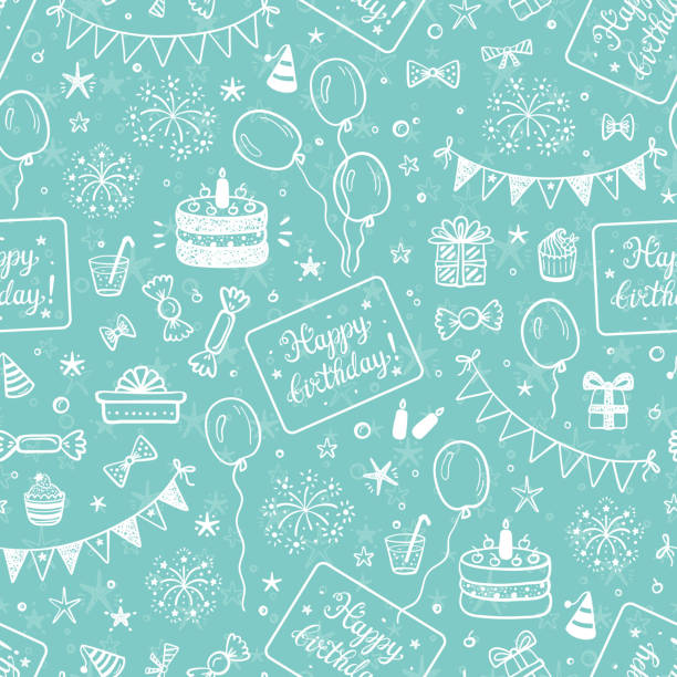 Birthday Party Seamless Pattern with Hand Drawn Doodle Birthday Cake, Sweets, Bunting Flag, Balloons, Gift Box and other Party Supplies. Celebratory background. Holiday Wallpaper Birthday Party Seamless Pattern with Hand Drawn Doodle Birthday Cake, Sweets, Bunting Flag, Balloons, Gift Box and other Party Supplies. Celebratory background. Holiday Wallpaper birthday stock illustrations