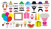 Birthday party set. Vector. Hat, cap, glasses, lips, mustaches, tie, balloons, bouquet and etc., icons.