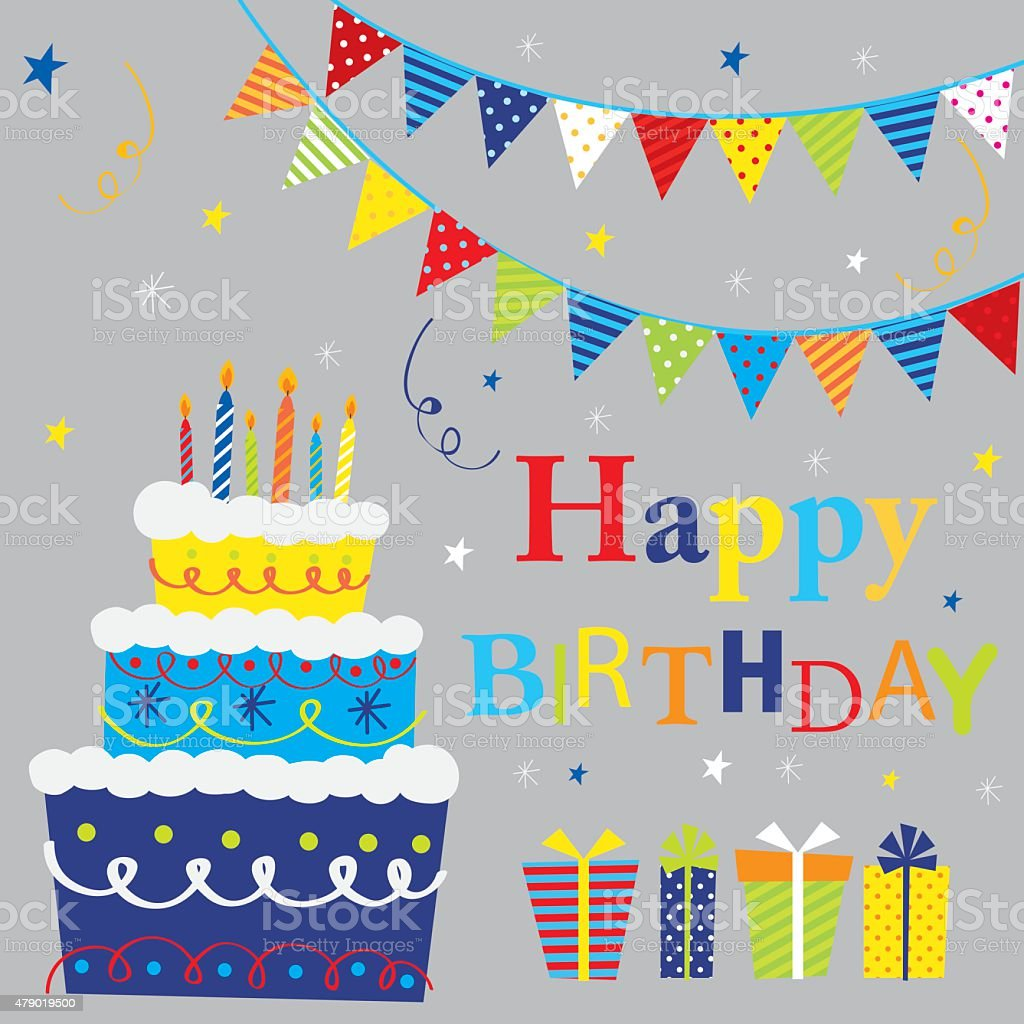 Birthday party set vector art illustration