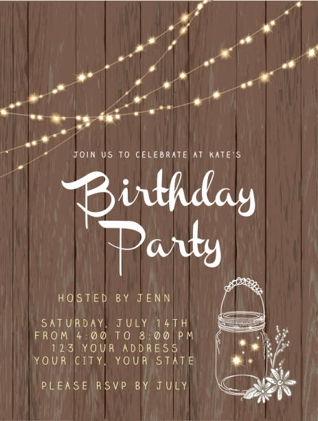 birthday party string lights and rustic wooden background design invitation template - light strings stock illustrations, clip art, cartoons, & icons